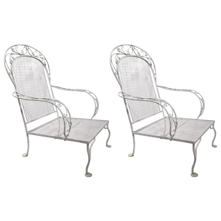 Pair of Iron Garden Patio Lounge Chairs Attributed to Woodard
