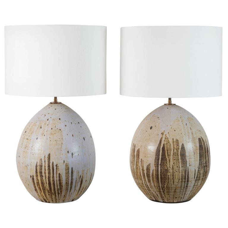 Pair of Large Ceramic Pod Lamps by Victoria Morris
