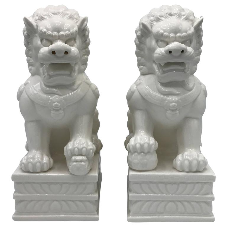 1960s Large Blanc de Chine Foo Dog Statues, Pair For Sale