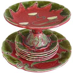 Art Nouveau Majolica Glazed Tableware Set with Lotus Flower Pattern in Relief