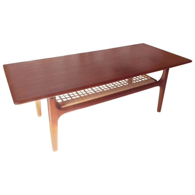 Delightful Danish Coffee Table By Trioh Møbler With Teak Frame And Cane Undershelf 1