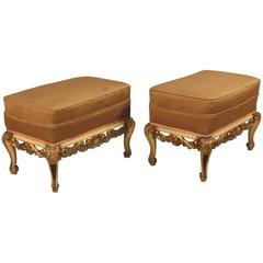 20th Century Pair of Spanish Lacquered and Gilt Footstools