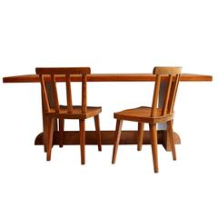 Pine Dining Table with Six Matching Chairs by Axel Einar Hjorth