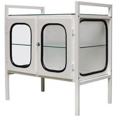 Vintage Hungarian Medical Cabinet in Iron and Glass, 1970s