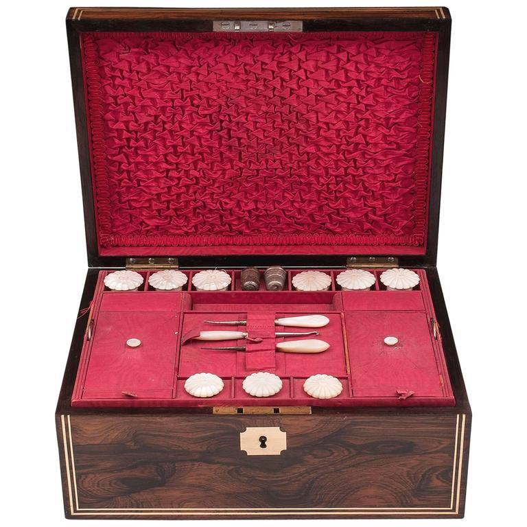 19th Century Figured Mahogany Sewing Box