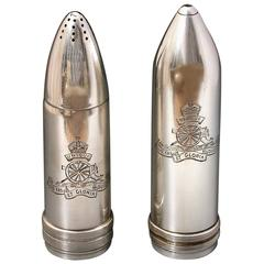 WW1 Cased Novelty Silver Artillery Shell Condiment Set Royal Artillery Crests