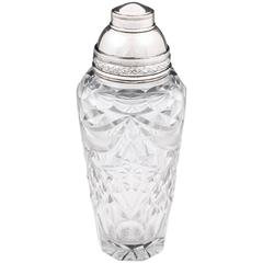 Silver-plate Cut Crystal Glass Cocktail Shaker