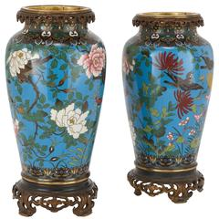 Pair of Antique Japanese Ormolu Mounted Cloisonné Enamel Vases