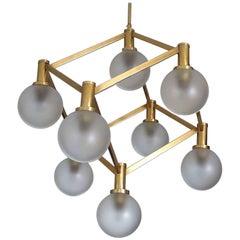 Sciolari Glass and Brass Chandelier, 1960s Modernist Stilnovo Pendant Lamp