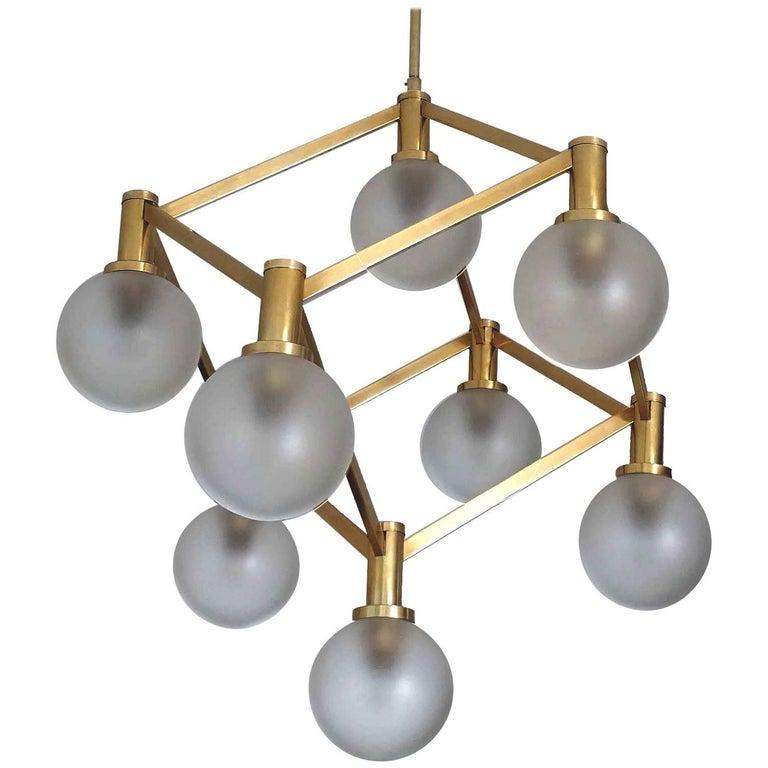 Sciolari Glass and Brass Chandelier, 1960s Modernist Stilnovo Pendant Lamp For Sale