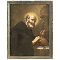 18th Century Italian Religious Painting Friar with Crucified Christ