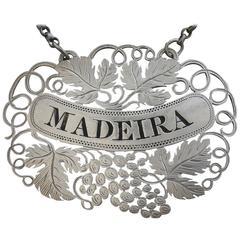 George IV Pierced Silver Wine Label 'Madeira'