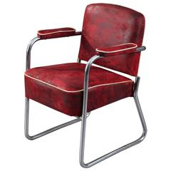Marcel Breuer Bauhaus Tubular Chromed-Steel Armchair for Thonet