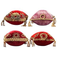 Four 19th Century French Silk Velvet Marriage Cushions