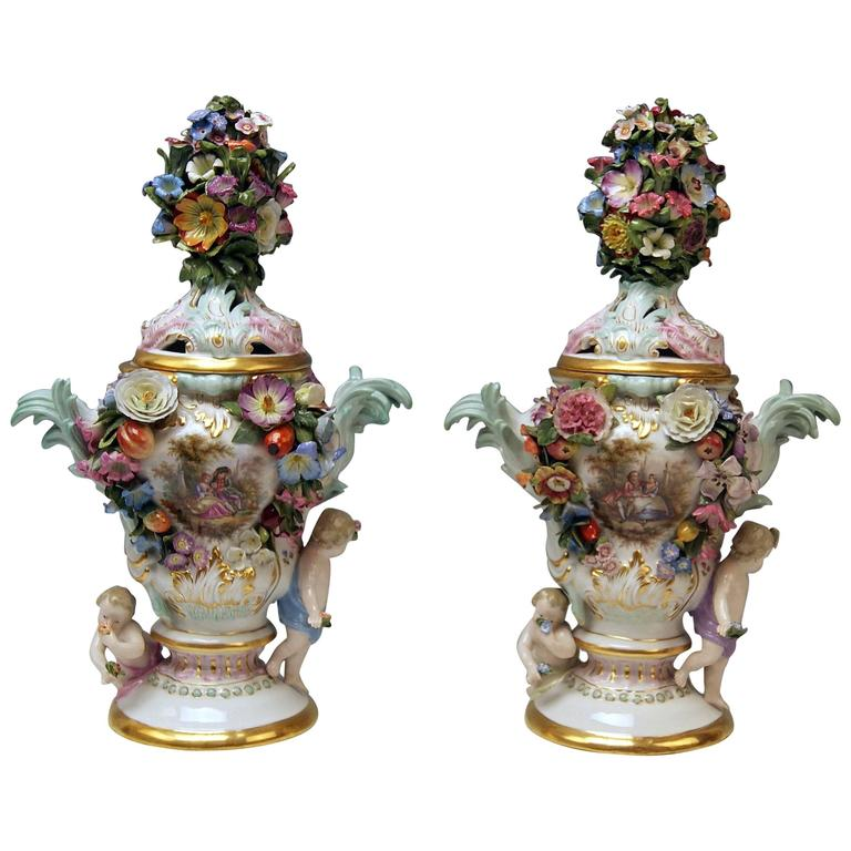 Meissen Pair of Kaendler Potpourri Lidded Vases Decorations, circa 1850