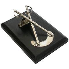Victorian Silver Officers Dress Swords Desk Clip Propelling Pencil Letter Opener