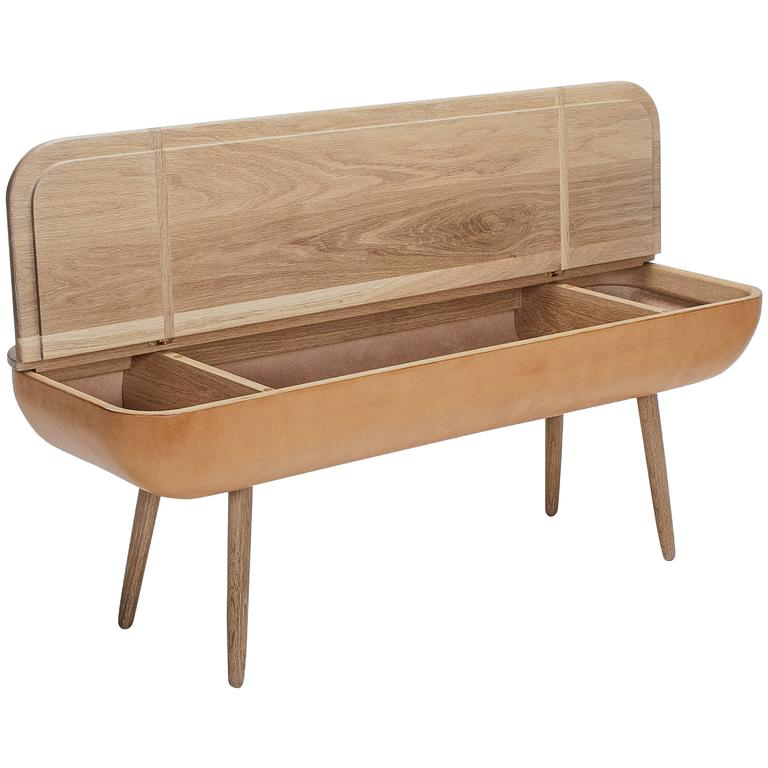 Coracle Bench with Storage, White Oak and Vegetable Tanned Leather For Sale
