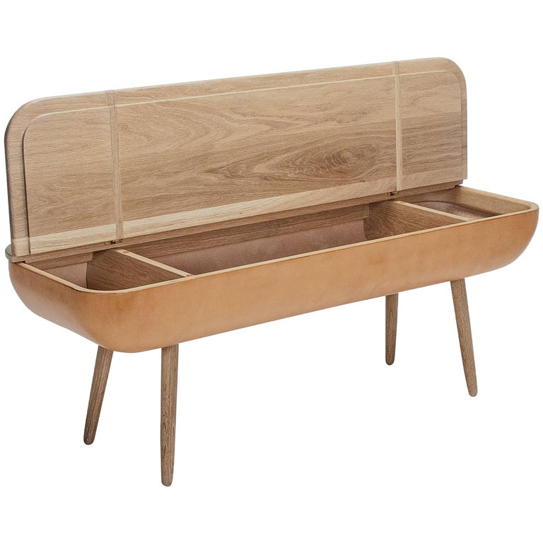 Coracle Bench with Storage, White Oak and eco-friendly Vegetable Tanned Leather For Sale