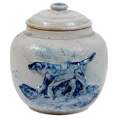 19th Century Blue Glaze Stoneware Covered Jar