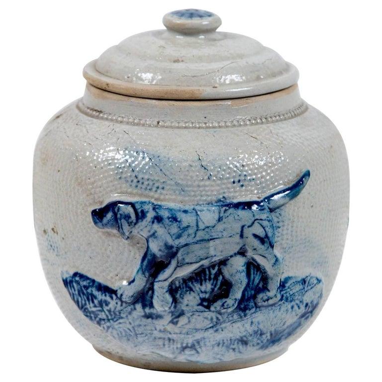 19th Century Blue Glaze Stoneware Covered Jar For Sale