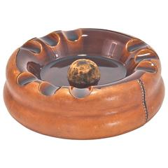 Large Ashtray in Ceramic and Leather by Longchamp Vintage