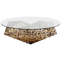 Contemporary Stellated Spherical Spring Coffee Table Cast Silicon Bronze & Glass