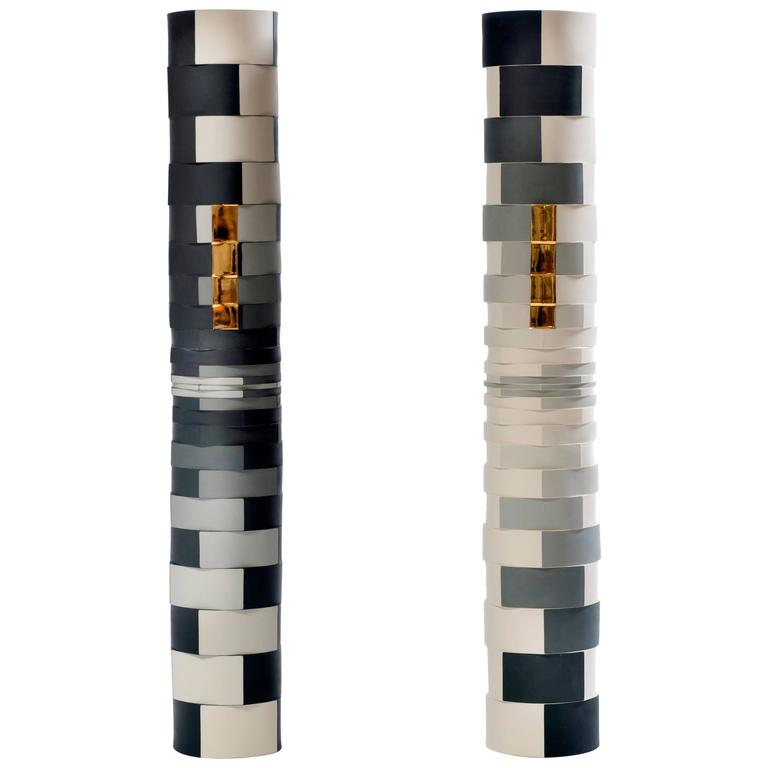 Contemporary Study of One Grey Showing Two Faces Colored Porcelain Columns 1