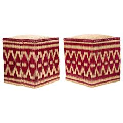 Pair of Moroccan Wicker Stools with Red Decorations, Set of Two