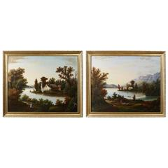 P. Hansen, American School Pair of Landscape Paintings, circa 1850