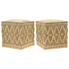 Pair of Moroccan Wicker Stools with Cord Decorations, Set of Two