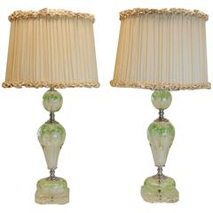 Pair of Art Deco Lamps with Art Glass Floral Balls and Custom Silk Lampshades
