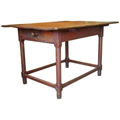 Red-Painted Stretcher Base Table