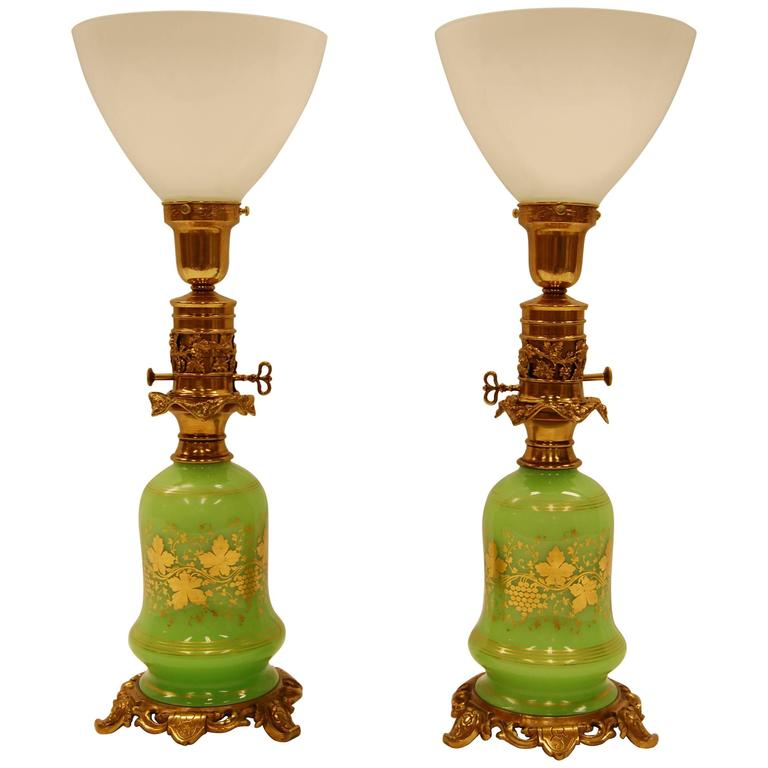 Pair of Green Opaline Gold Leaf Decorated French Oil Lamps, circa 1860 For Sale