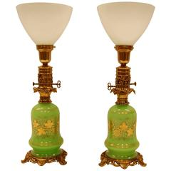 Pair of Green Opaline Gold Leaf Decorated French Oil Lamps, circa 1860