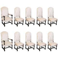 Set of Ten Antique French Dining Chairs with High Backs and New Upholstry