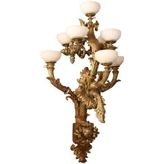 French Louis XV Style Bronze Dore Monumental Sconces, White Alabaster Shades