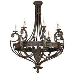 Large Painted Iron Chandelier