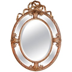 Large French Oval Cushion Mirror in Giltwood, 19th Century With Beveled Mirrors