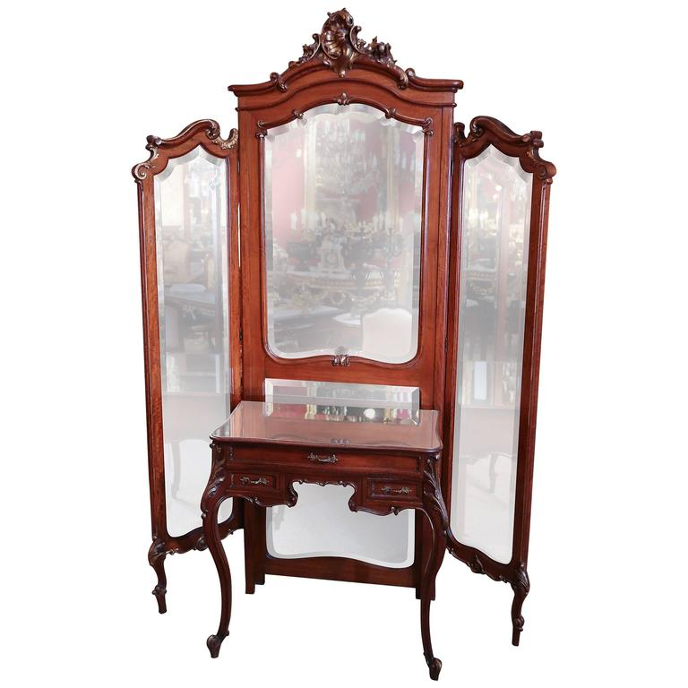 French Louis Xv Tri Fold Dressing Mirror With Separate