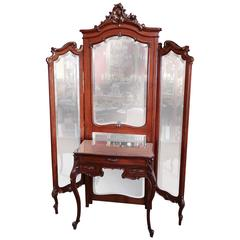 French Louis XV Tri-Fold Dressing Mirror with Separate Mirror Top Vanity Table