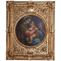 """19th Century Oil on Canvas """"Madonna Della Sedia"""" After Raphael, Raffaello Sanzio"""