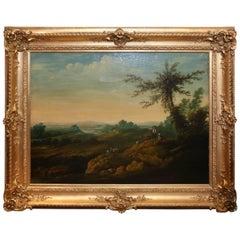 French Oil on Canvas, Pastoral Landscape Depicting Shepherds