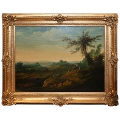 French Oil on Canvas, Pastoral Landscape Depicting Shepherds