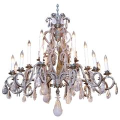 Large Bronze and Rock Crystal Chandelier