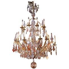 Large French Gilt Bronze and Crystal Twenty-Light Chandelier