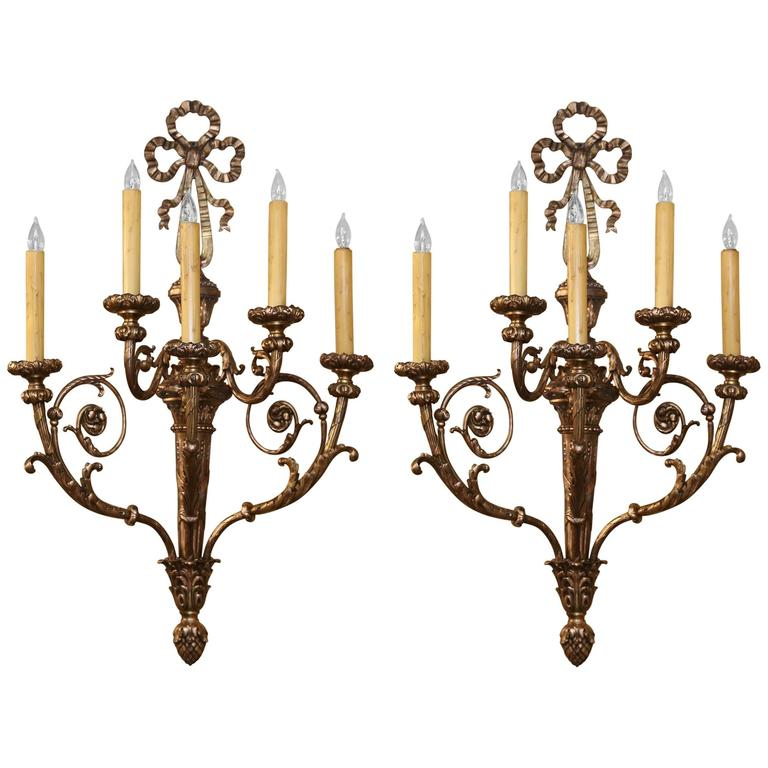 Pair of Very Large French Antique Bronze Sconces, Five Lights, Wired