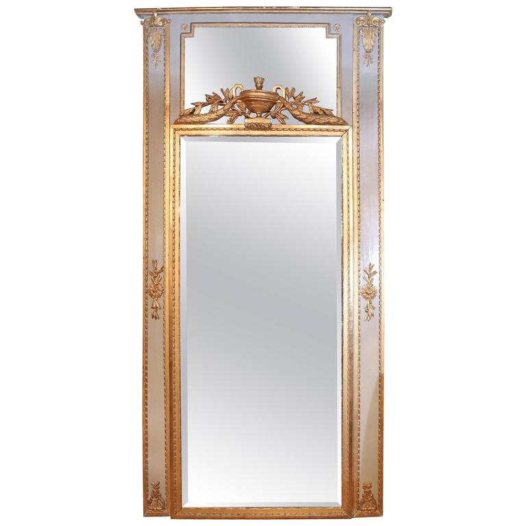 Large French Floor/Pier Mirror with Parcel Paint and Gilt Wood in Antique Frame