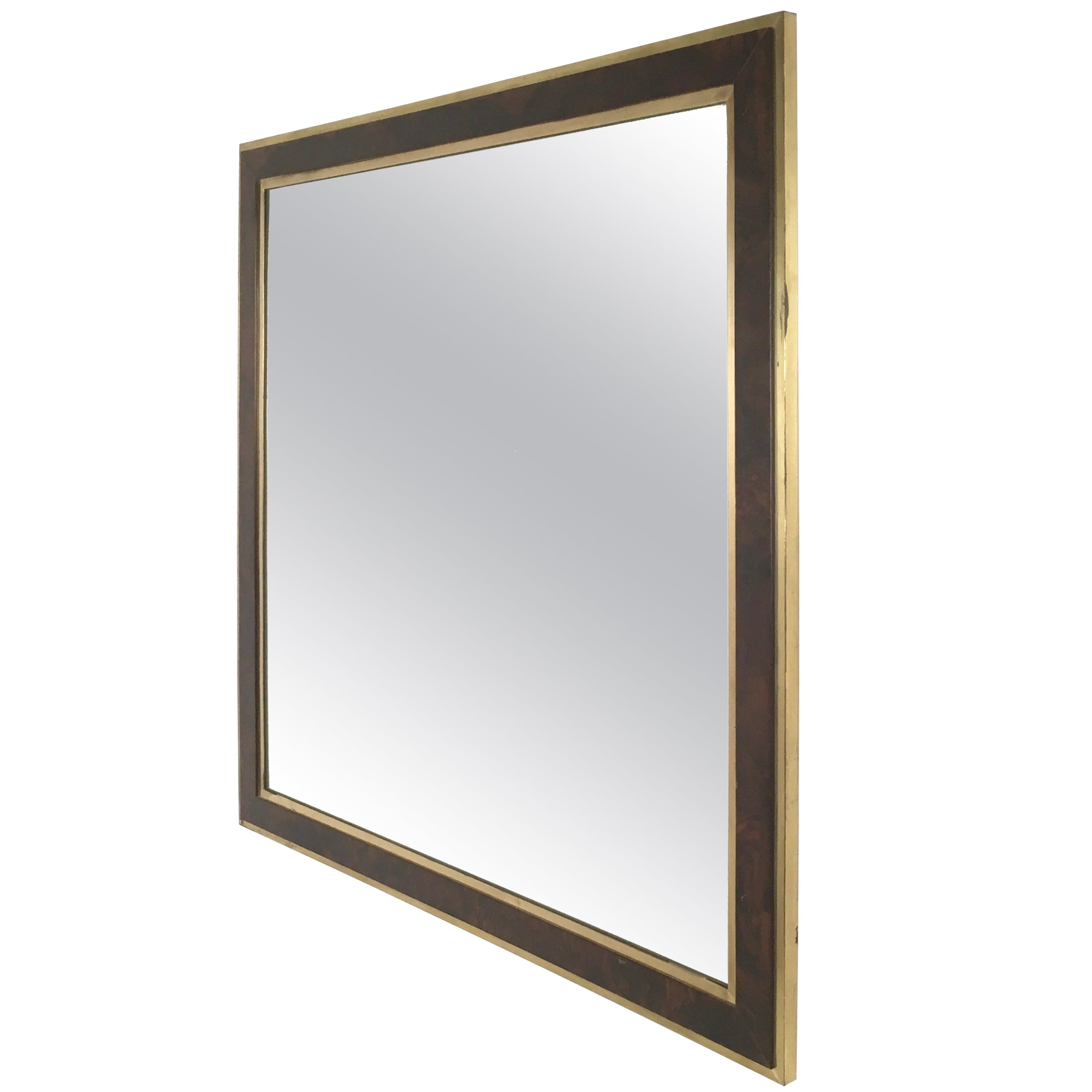 Brass and Briar-Root Wall Mirror, Italy, 1970s