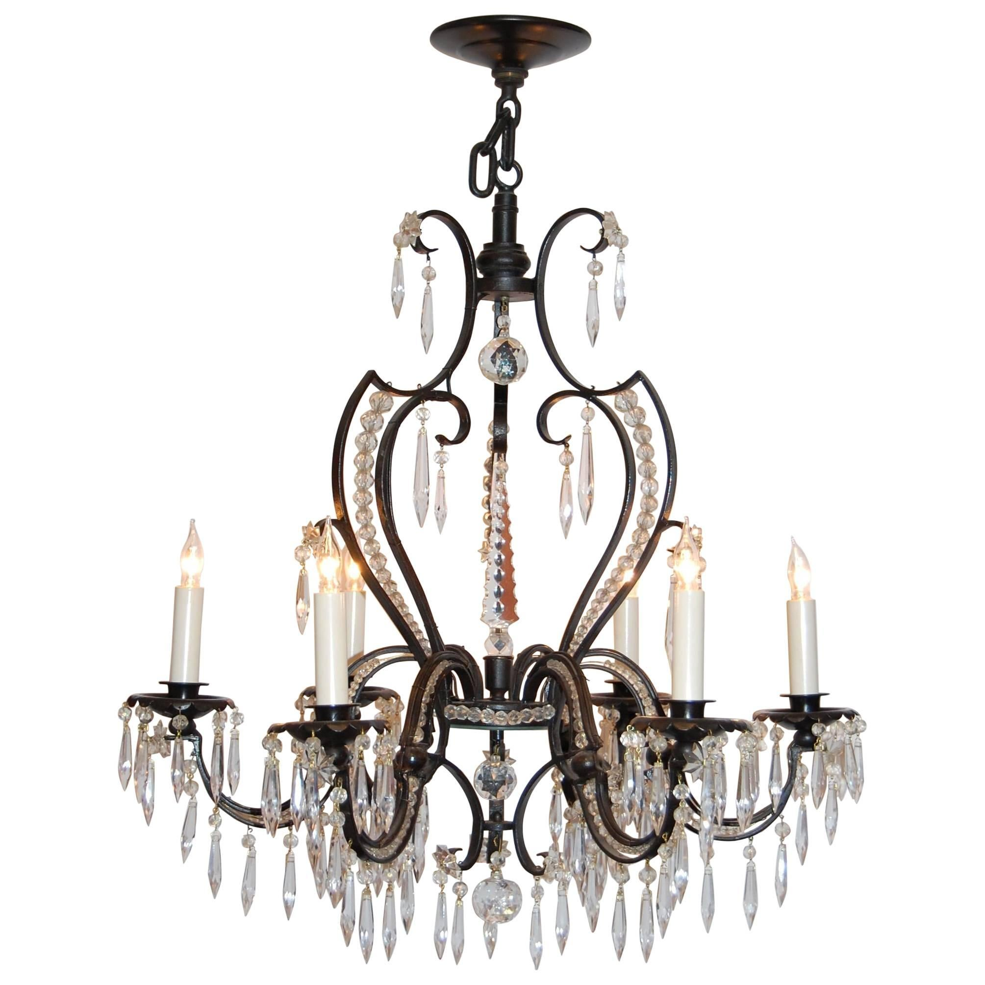 Iron and Crystal Six-Light Chandelier, circa 1920s-1930s