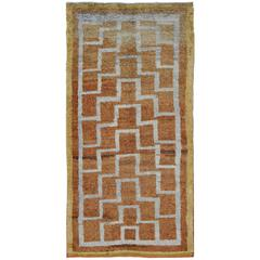 Mid-Century Turkish Tulu Large Rug with Connected Tribal Pattern